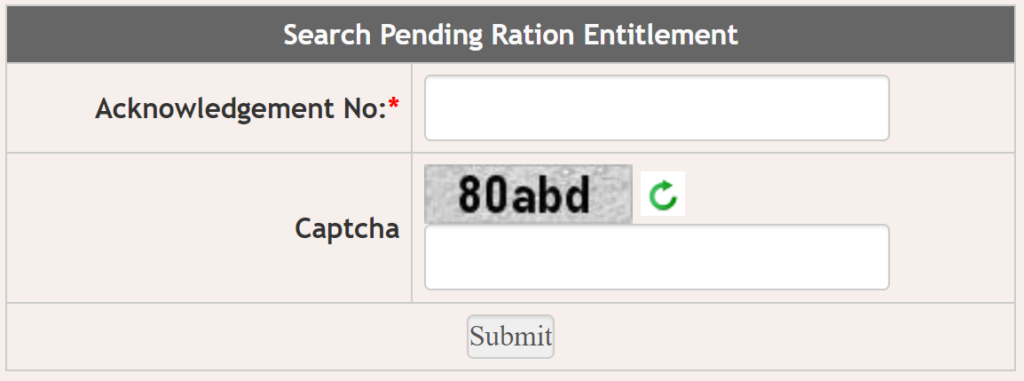 Pending Ration Search